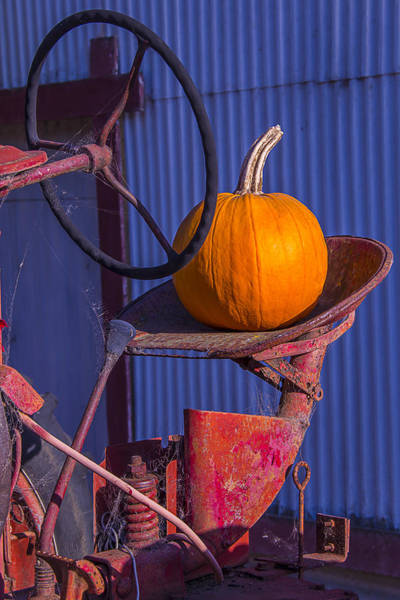 Harvesting Wall Art - Photograph - Pumpkin On Tractor Seat by Garry Gay