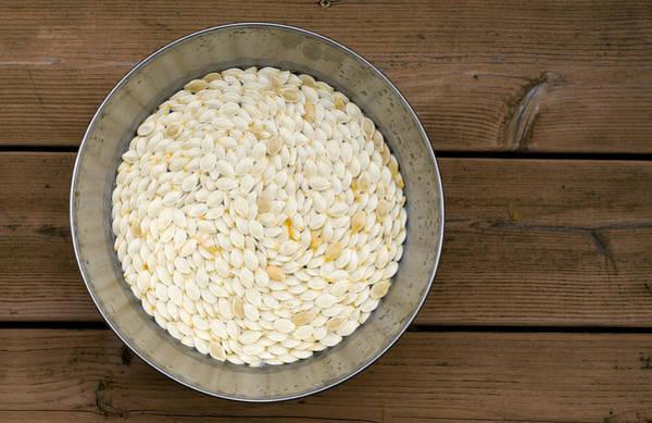 Photograph - Pumpkin Seeds In A Bucket by Lynn Hansen