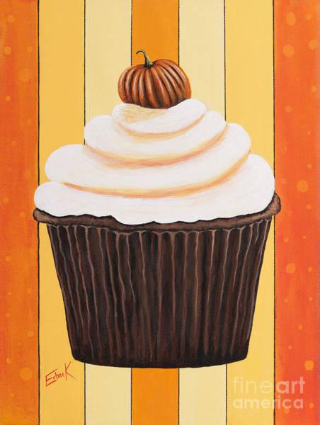 Cheese Cake Wall Art - Painting - Pumpkin Spice Cupcake By Shawna Erback by Erback Art