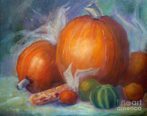 Painting - Pumpkins And Corn by Carolyn Jarvis