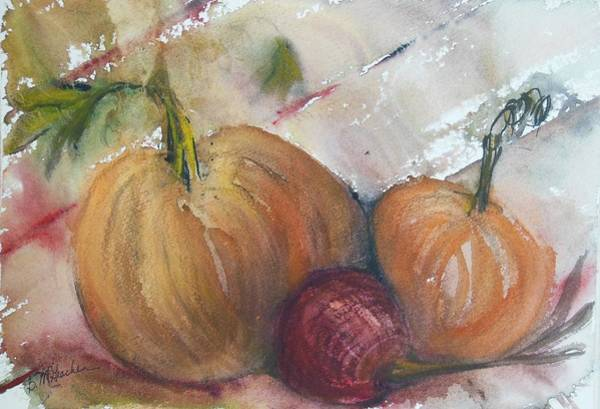 Winter Squash Painting - Pumpkins And Onion by Barbara McGeachen