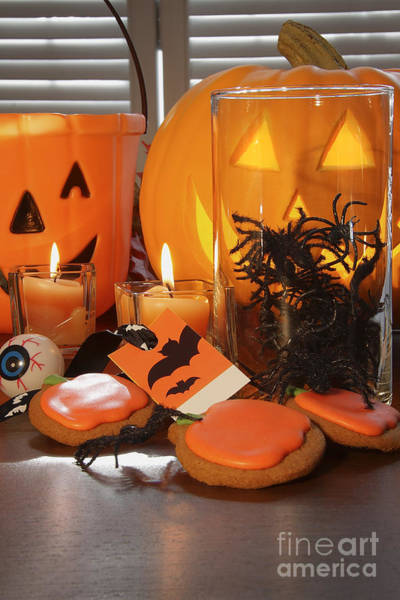 Photograph - Pumpkins Candles And Cookies For Halloween by Sandra Cunningham