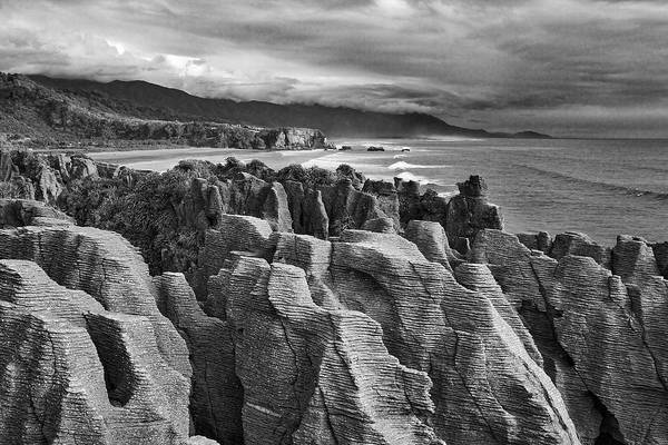 Photograph - Punakaiki Pancake Rocks - Black And White by Stuart Litoff