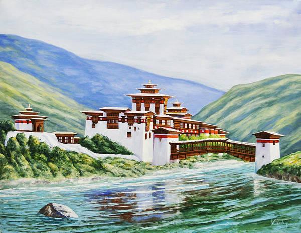 Wall Art - Painting - Punakha Fortress by Karma  Loday