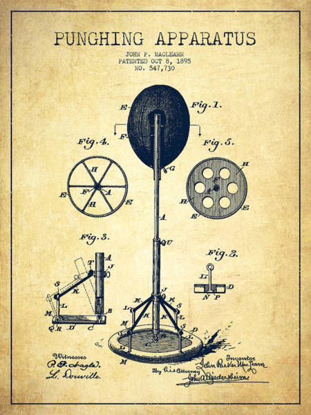 Mma Digital Art - Punching Apparatus Patent Drawing From 1895 -vintage by Aged Pixel