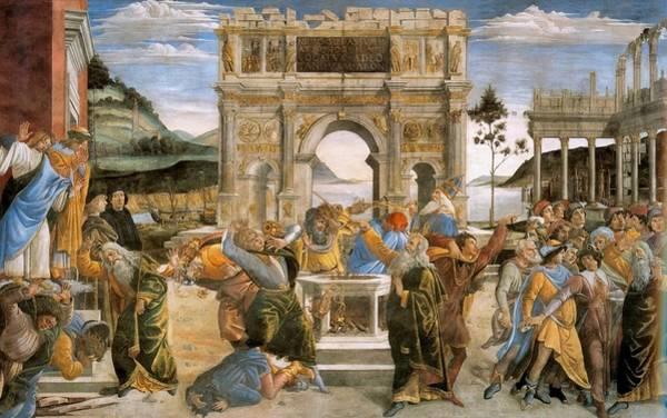 Apostolic Palace Wall Art - Painting - Punishment Of Korah And Dathan And Abiram by Sandro Botticelli
