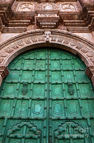 Photograph - Puno Cathedral Door 1 by James Brunker