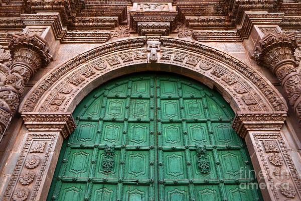 Photograph - Puno Cathedral Door 2 by James Brunker