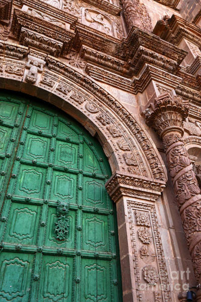 Photograph - Puno Cathedral Door 3 by James Brunker
