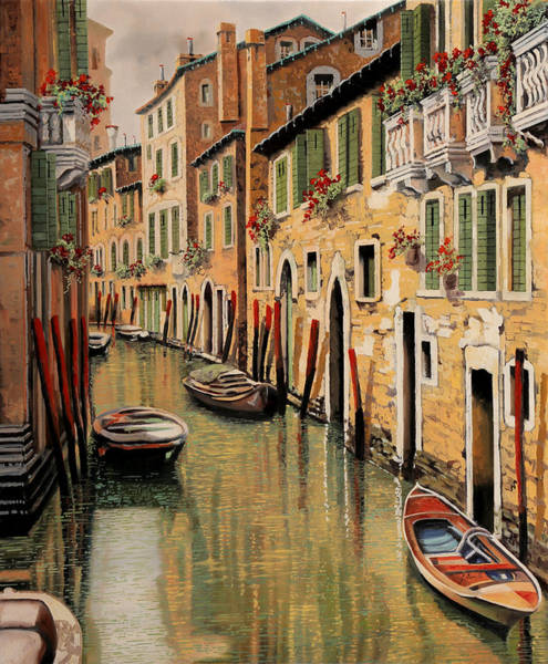 Canal Wall Art - Painting - Punte Rosse A Venezia by Guido Borelli