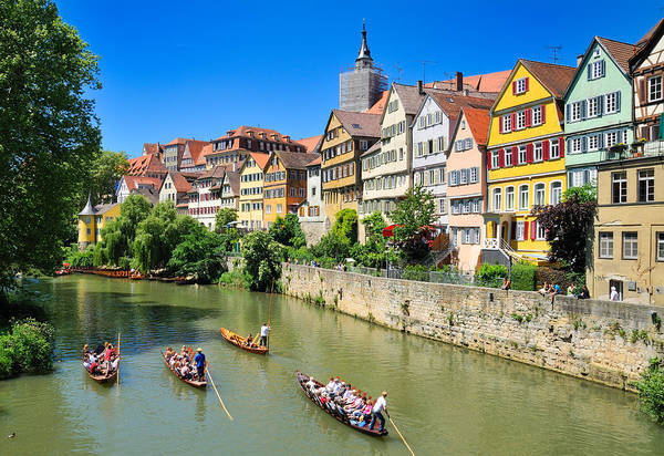 Baden Wuerttemberg Photograph - Punts On River Neckar In Lovely Old Tuebingen Germany by Matthias Hauser
