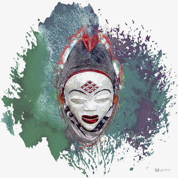 African Tribal Digital Art - Punu Mask - Maiden Spirit Mukudji by Serge Averbukh