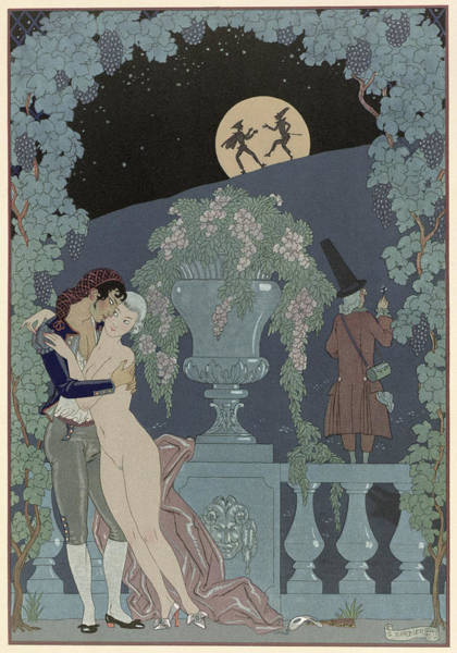 Full Moon Painting - Puppets by Georges Barbier