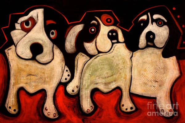 Painting - Puppies In A Row by Cindy Suter