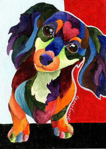 Painting - Puppy Love Long Haired Dachshund by Sherry Shipley