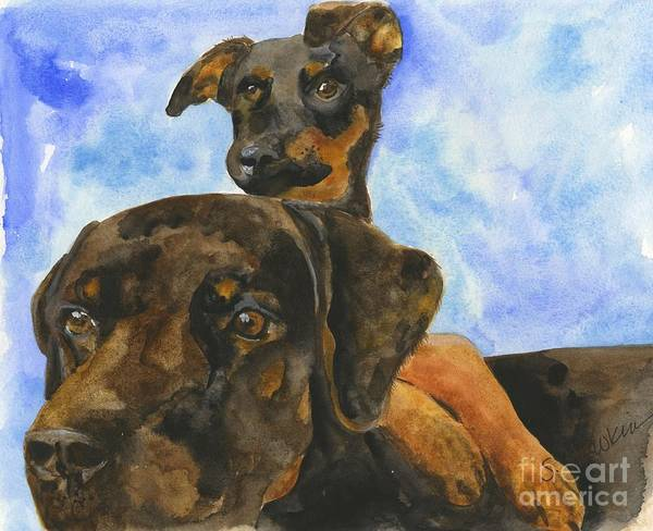 Wall Art - Painting - Puppy Pals by Sheryl Heatherly Hawkins
