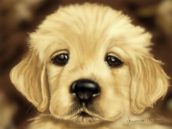 Golden Retriever Painting - Puppy by Veronica Minozzi