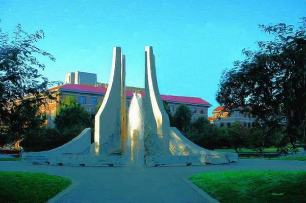 Indiana University Alumni Digital Art - Purdue Mall Water Sculpture by Dennis Lundell