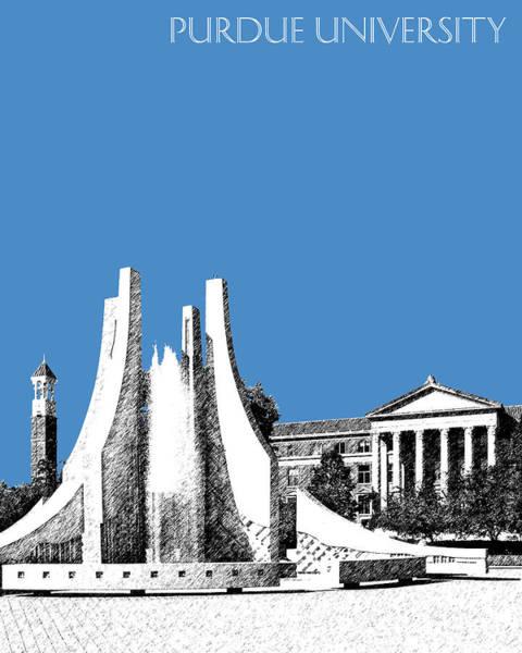 Indiana University Alumni Digital Art - Purdue University 2 - Engineering Fountain - Slate by DB Artist