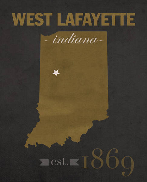 Lafayette Mixed Media - Purdue University Boilermakers West Lafayette Indiana College Town State Map Poster Series No 090 by Design Turnpike