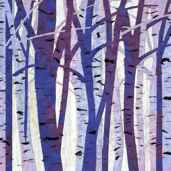 Plums Painting - Plum And Blue Birch Trees - Plum And Blue Art by Lourry Legarde