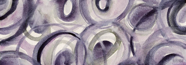 Painting - Purple And Green Circles Abstract Panoramic Painting by Beverly Brown