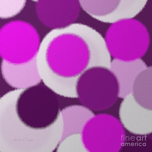 Digital Art - Purple And Pink Polka Dots Square by Andee Design