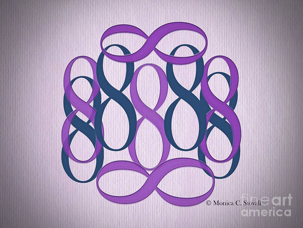 Digital Art - Purple And Teal 8's by Monica C Stovall