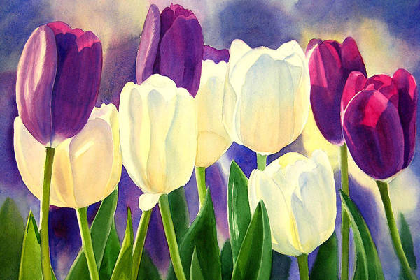Freeman Wall Art - Painting - Purple And White Tulips by Sharon Freeman
