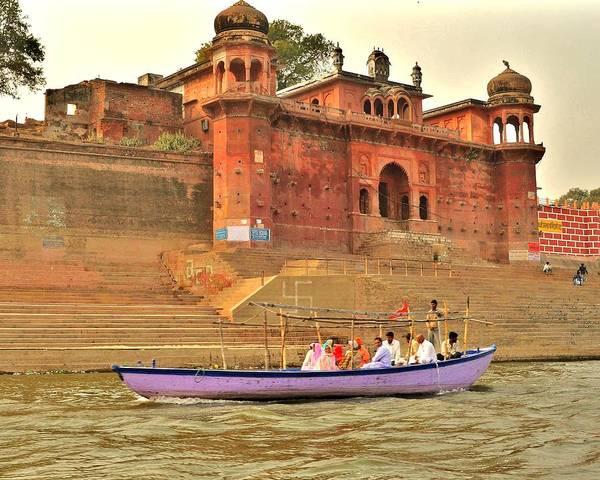 Photograph - Purple Boat  - Varanasi India by Kim Bemis