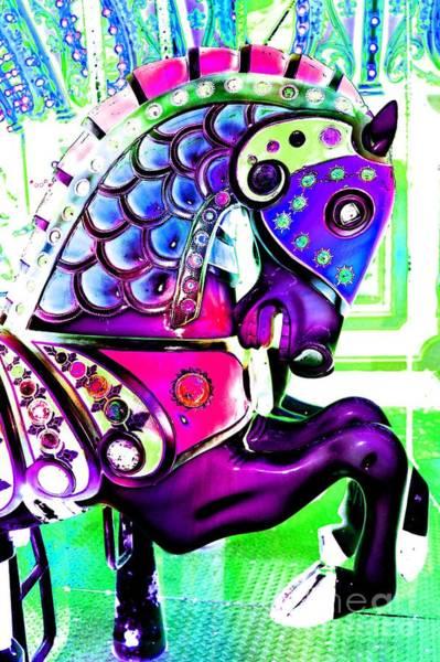 Carousel Digital Art - Purple Carousel Horse by Patty Vicknair