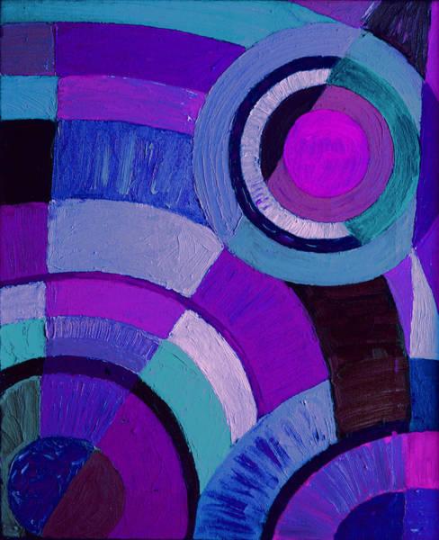 Photograph - Purple Circle Abstract Painting by Karen Adams