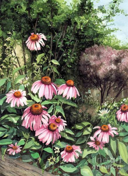 Wall Art - Painting - Purple Coneflowers by Barbara Jewell