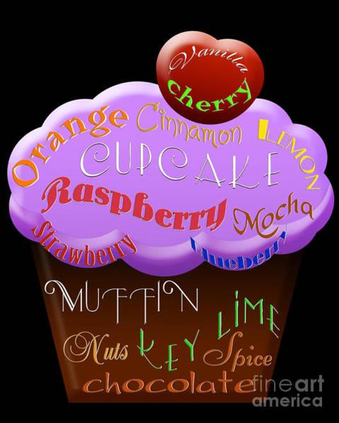 Digital Art - Purple Cupcake Typography by Andee Design