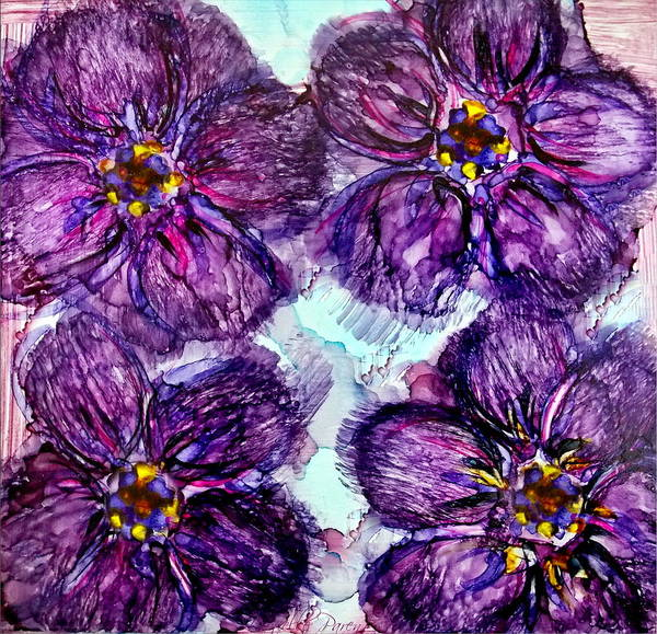 Painting - Purple Daisies Alcohol Inks by Danielle  Parent