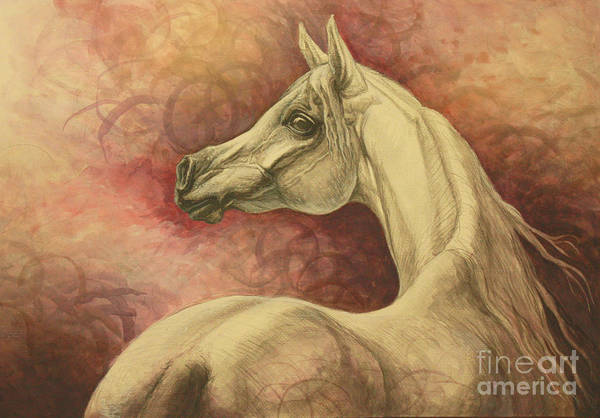 White Horse Painting - Purple Emotion by Silvana Gabudean Dobre