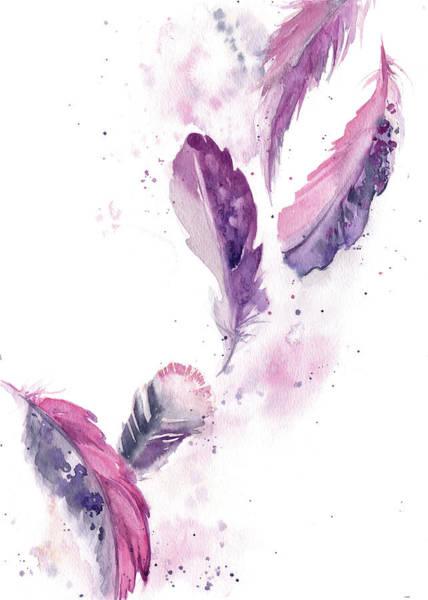 Wall Art - Painting - Purple Feathers II by Sophia Rodionov