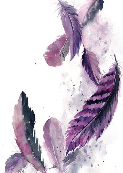 Wall Art - Painting - Purple Feathers IIi by Sophia Rodionov