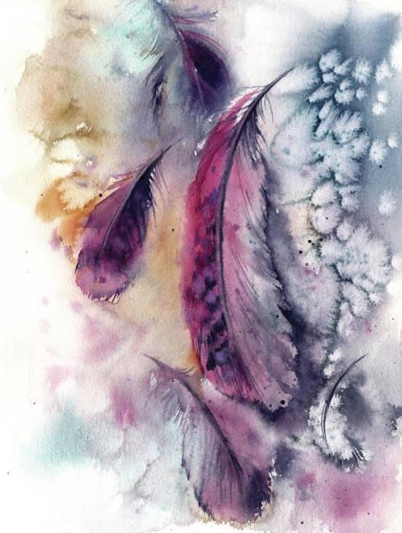 Wall Art - Painting - Purple Feathers V by Sophia Rodionov