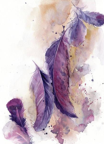 Wall Art - Painting - Purple Feathers Vi by Sophia Rodionov