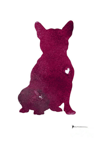 French Bulldog Painting - Purple French Bulldog Watercolor Art Print Painting by Joanna Szmerdt