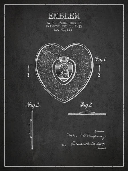 Medallion Wall Art - Digital Art - Purple Heart Patent From 1933 - Charcoal by Aged Pixel
