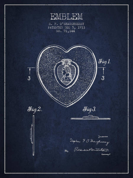 Medallion Wall Art - Digital Art - Purple Heart Patent From 1933 - Navy Blue by Aged Pixel