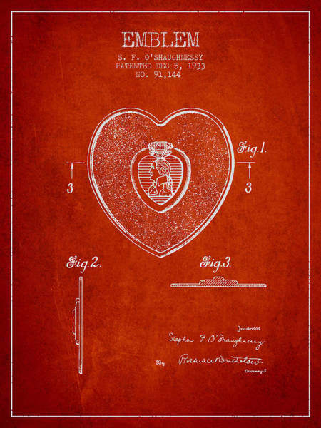 Medallion Wall Art - Digital Art - Purple Heart Patent From 1933 - Red by Aged Pixel
