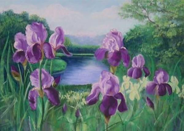 Pastel - Purple Irises At Catfish Corner by Sherri Anderson