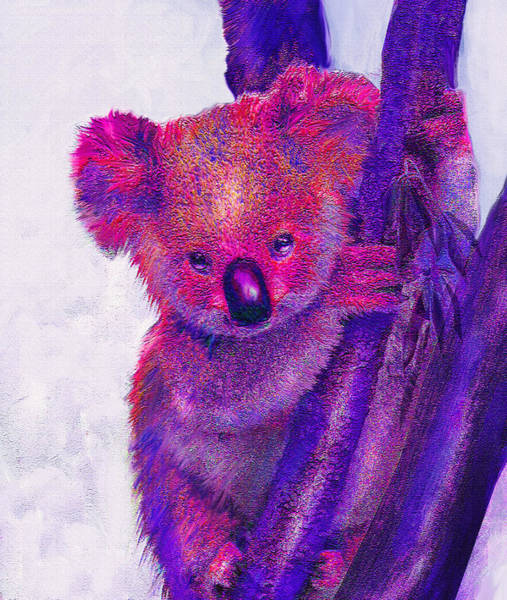 Australian Wildlife Digital Art - Purple Koala by Jane Schnetlage