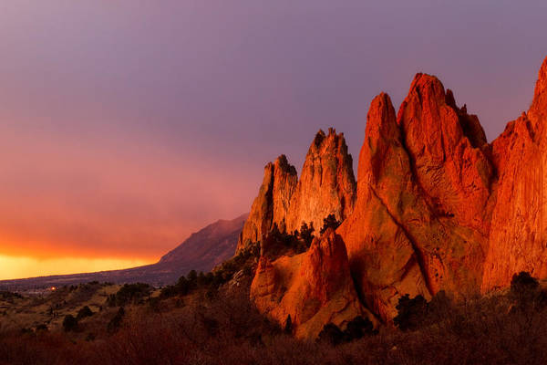 Wall Art - Photograph - Purple Morning At Garden Of The Gods by Ronda Kimbrow