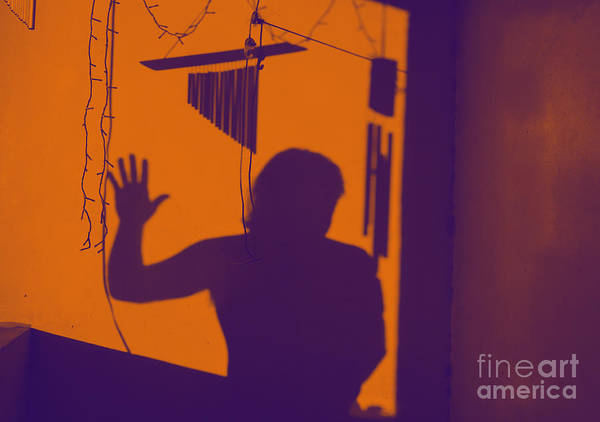Photograph - Purple Orange Figure Shadow by Christopher Shellhammer