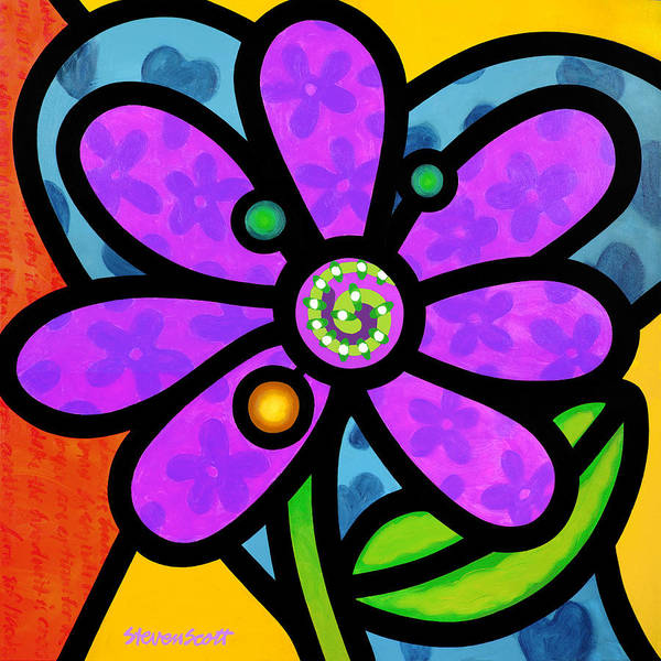 Wall Art - Painting - Purple Pinwheel Daisy by Steven Scott