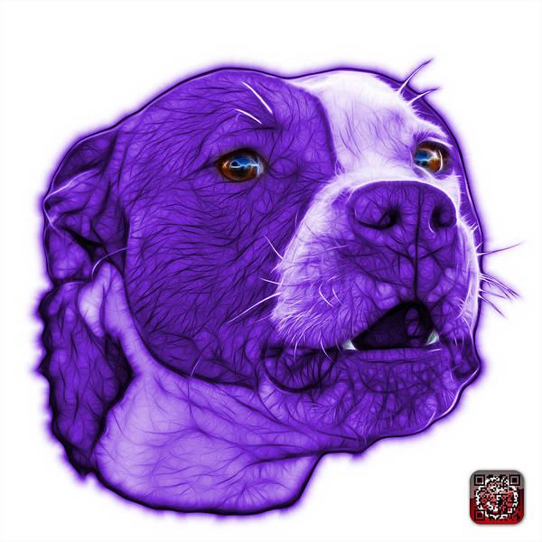 Mixed Media - Purple Pitbull Dog Art - 7769 - Wb - Fractal Dog Art by James Ahn